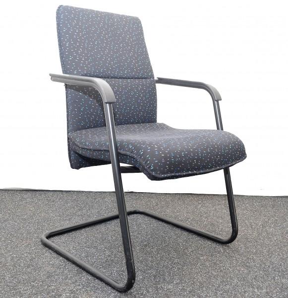 Freischwinger VOKA, Stoffpolsterung, grau miliert, gepolsterte A, gebrauchte Büromöbel