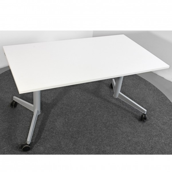 Steelcase Schreibtisch Tisch klappbar weiß silber  auf Rollen  gebraucht Büro 36191