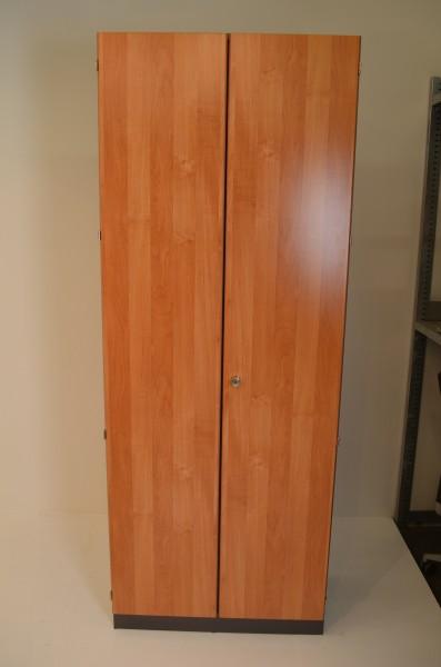 Garderobenschrank, Ahorn, 210x80cm, Flügeltüren, verschließbar, gebrauchte Büromöbel