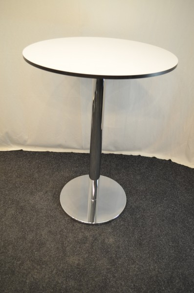 Stehtisch, weiße Platte, Ø80cm, Chromfuß und Ständer, genrauchte Büromöbel