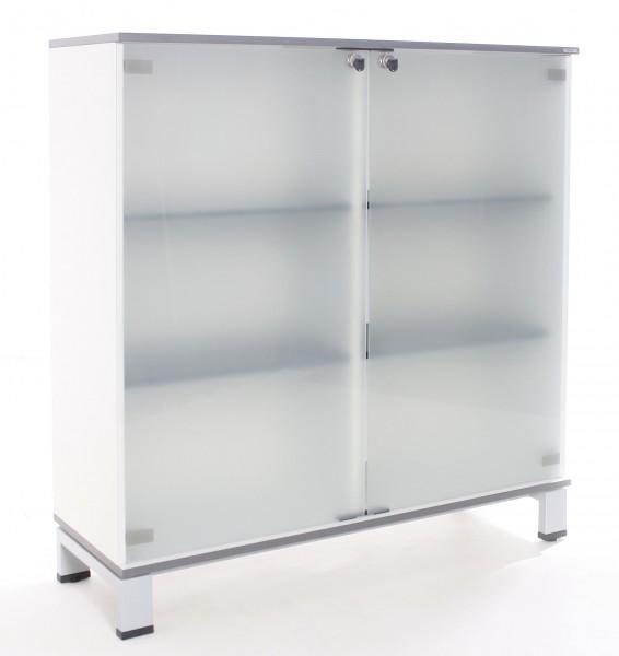 "Sideboard 3OH ""VARIO"", B 120 x H 126 x T 43 cm, Glastüren, gebrauchte Büromöbel"