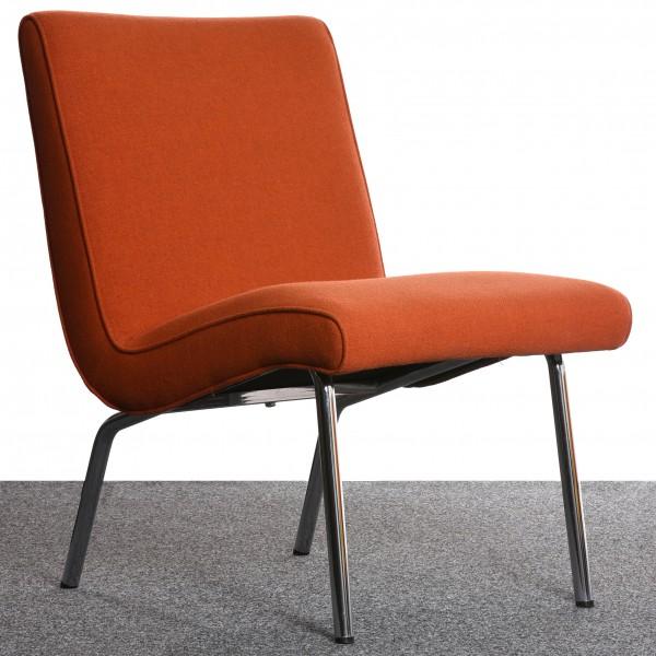 "Sessel ""WALTER KNOLL"" Classic Edition orange  Struktur Webstoff Chrom Textil gebraucht Büromöbel"