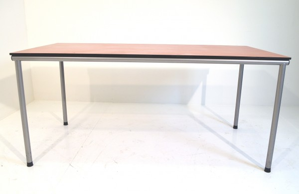 Besucher-/Besprechungstisch, 160x80cm, dunkel Tischplatte, Chromgestell, gebrauchte Büromöbel