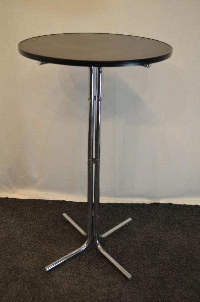 Stehtisch, schwarze Tischplatte, Ø60cm, 4-Stern-Chromfuß, gebrauchte Büromöbel