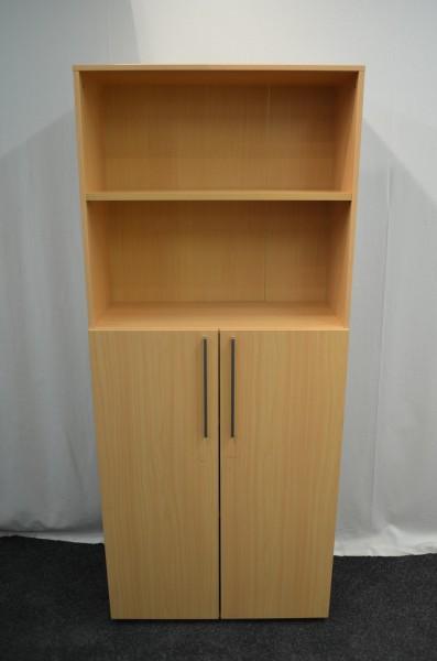 Aktenregal 5OH, , 188x80cm, mit Schrankkombination, Buche, gebrauchte Büromöbel