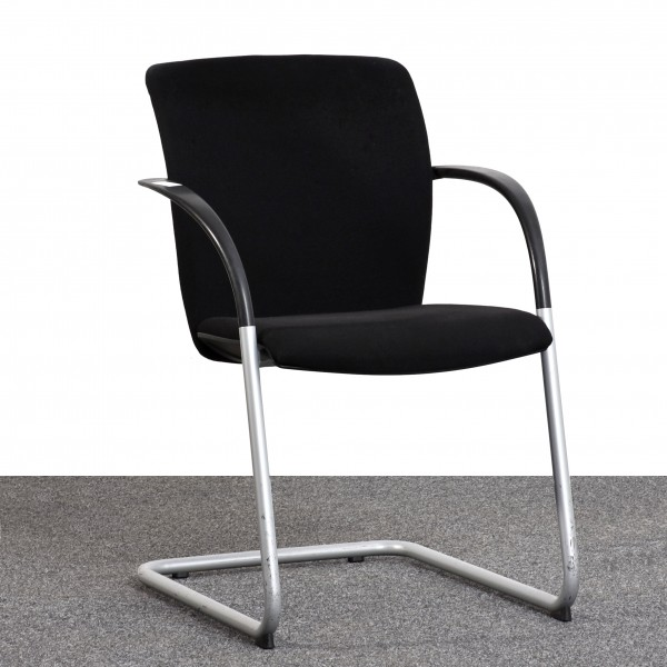 König & Neurath K&N Freischwinger Textilbezug schwarz Gestell silber gebraucht Büro 36567