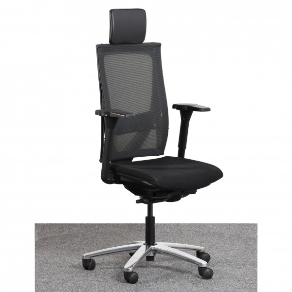 K&N  Drehstuhl Textilbezug schwarz Armlehne gebraucht Büro 36515