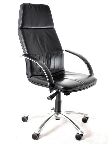 Bürodrehstuhl, Leder schwarz, 35620, gebrauchte Büromöbel