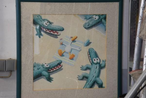 Krokodile + Ente 113 x 83 cm, gebraucht