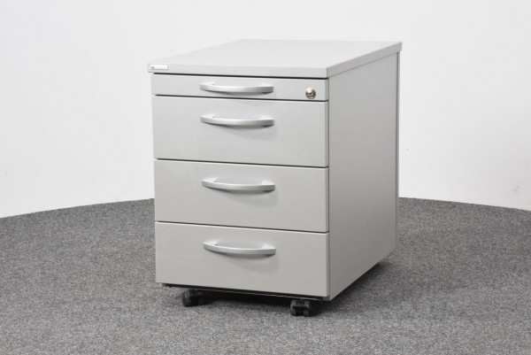 Rollcontainer, grau, 4 Schubladen, Griffe silber, gebraucht