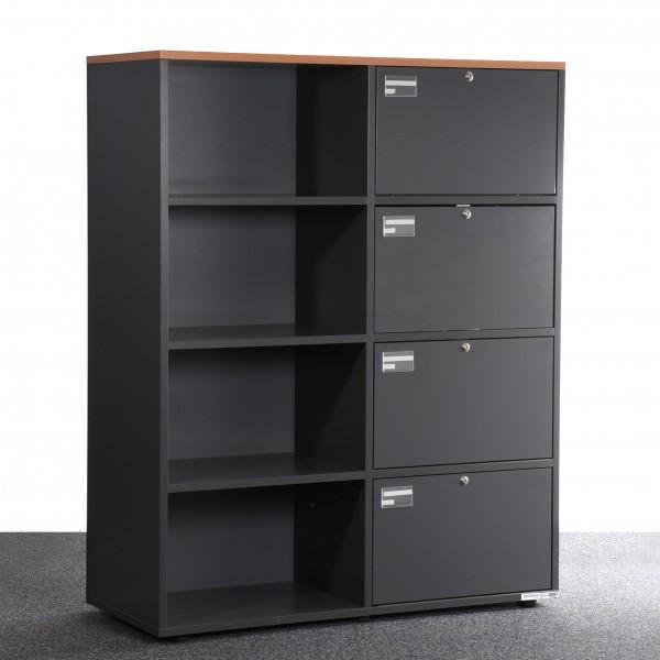 Schrank, anthrazit, Buche Abdeckplatte, 4x offene Fächer, 4x abschließbare Klapp Fächer, gebraucht