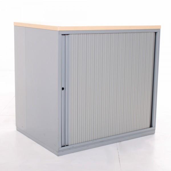 Sideboard 2OH, 77x80cm, Silber mit Ahornabdeckung, Korpus Metall, Lamellenschiebetüre, gebrauchte