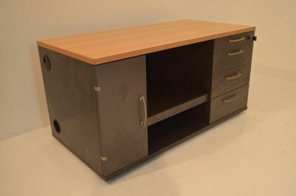 Sideboard 2OH, 120x60cm, schwarzer Corpus, Bucheablageplatte, 1x Flügeltür, 4x Schublade, 1x offenes
