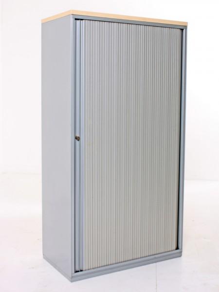 Aktenschrank 4OH, 150x80cm, Korpus und Böden Metall, Silbergrau, Lamellenschiebetür, gebrauchte