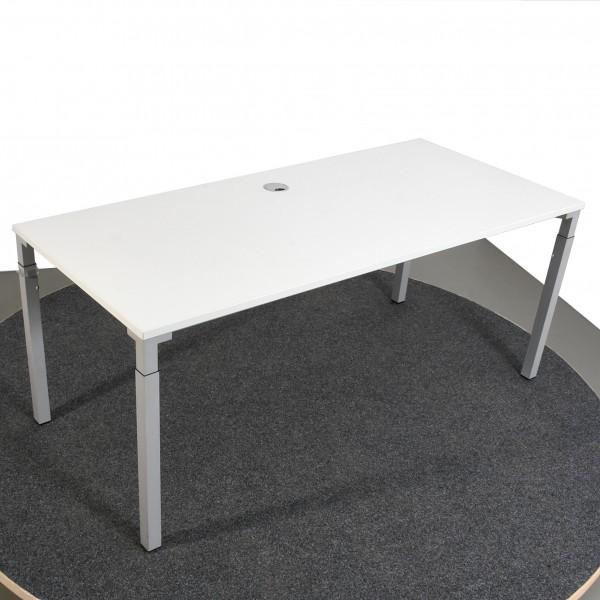 Steelcase Schreibtisch weiß silber höhenverstellbar 80x180 cm gebraucht Büro 36497