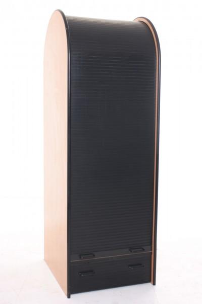 Garderoben-/ Kleiderschrank, 192x65cm, Schwarz/ Buche, Rolladenschiebetür, 1x Schublade, gebrauchte