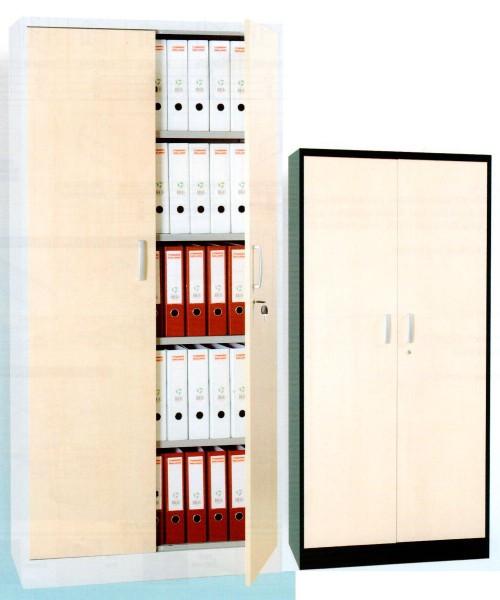 Hängeregistraturschrank Stahl, Holzfront, DIN A4x2, 132x76x62cm, 4x Hängeschübe, Silber/Ahorn FGC/W
