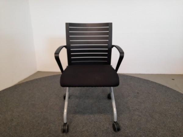 Steelcase Besucherstuhl, schwarz, 4 Fuß, gebraucht