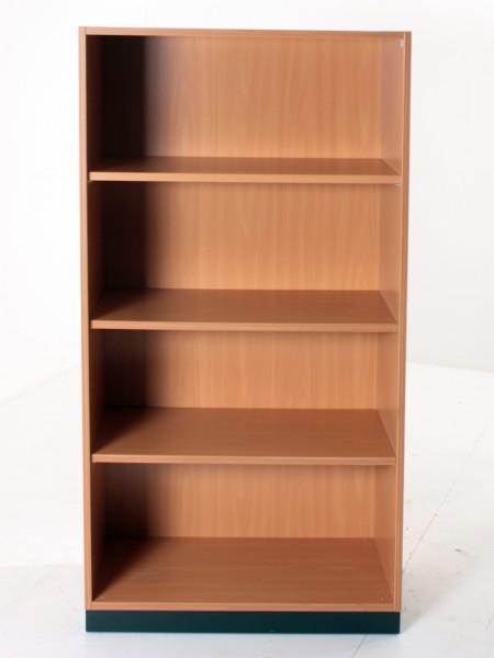 Aktenregal 4OH, 152x80cm, Buche, schwarzer Sockel, gebrauchte Büromöbel