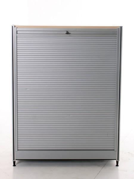 Sideboard, 113x86cm, Silber/ Buche, Rolladentüre, verschließbar, gebrauchte Büromöbel