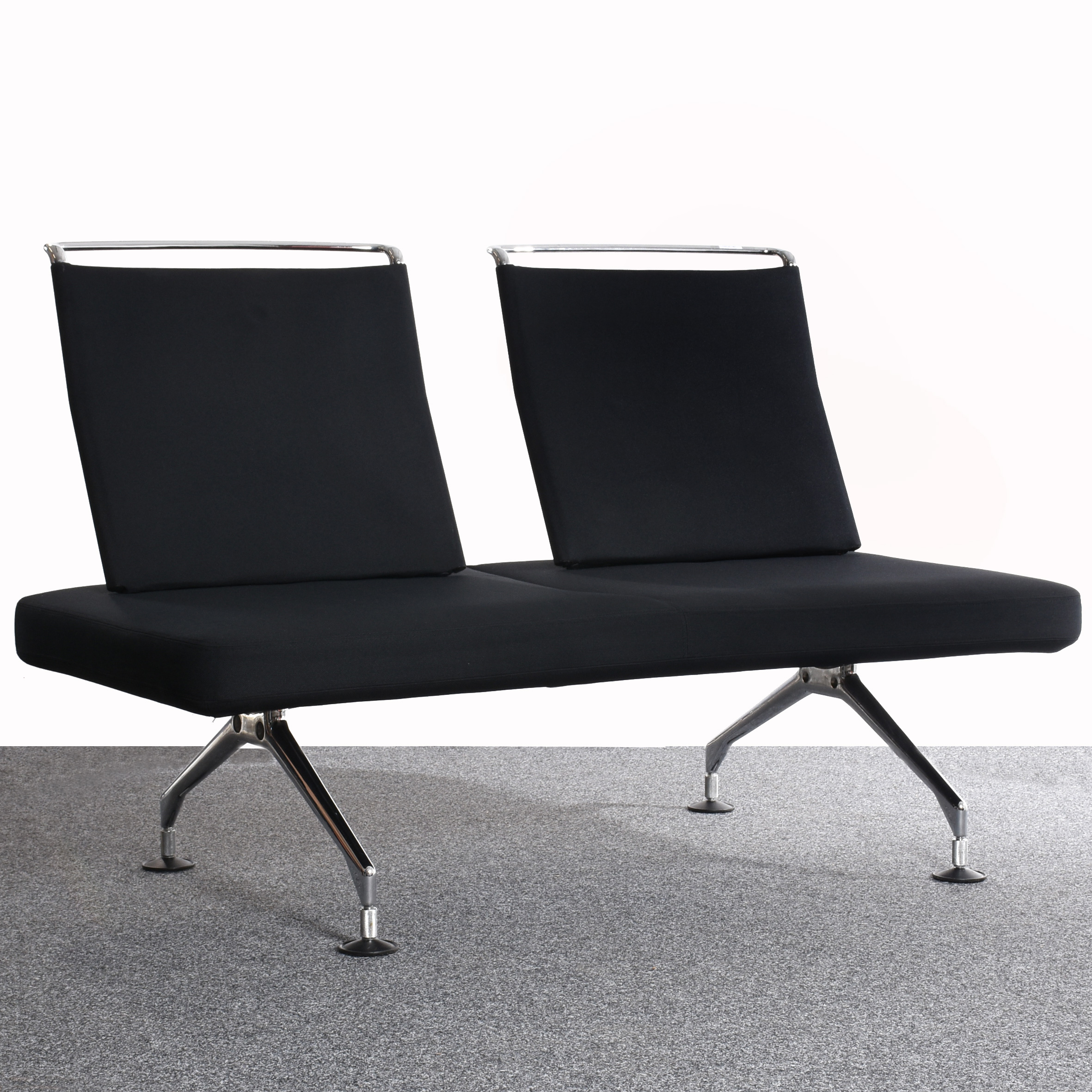 vitra area zweisitzer sofa lounge textilbezug schwarz chrom gestell gebraucht. Black Bedroom Furniture Sets. Home Design Ideas